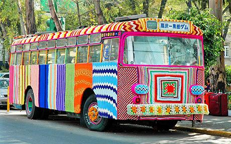 yarnbombed bus