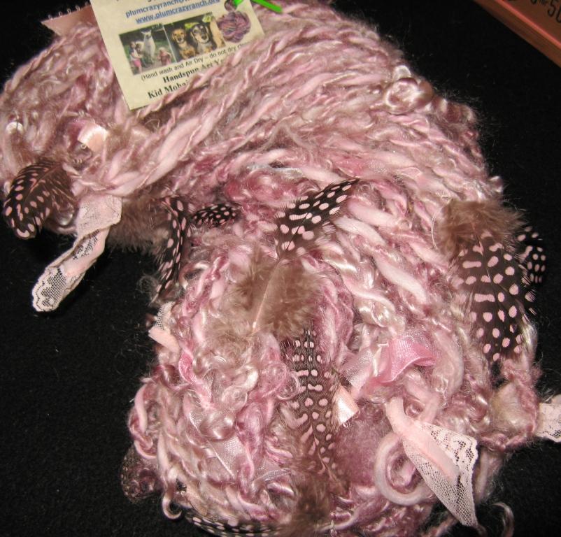 plum crazy girly yarn closeup