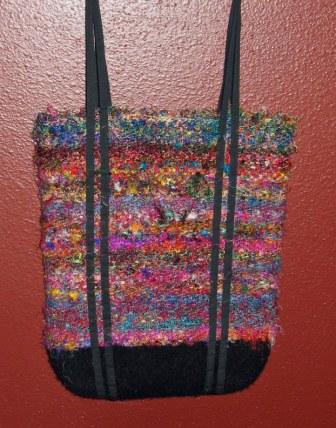 sari silk bag with felted bottom