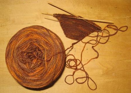 sock yarn and toe