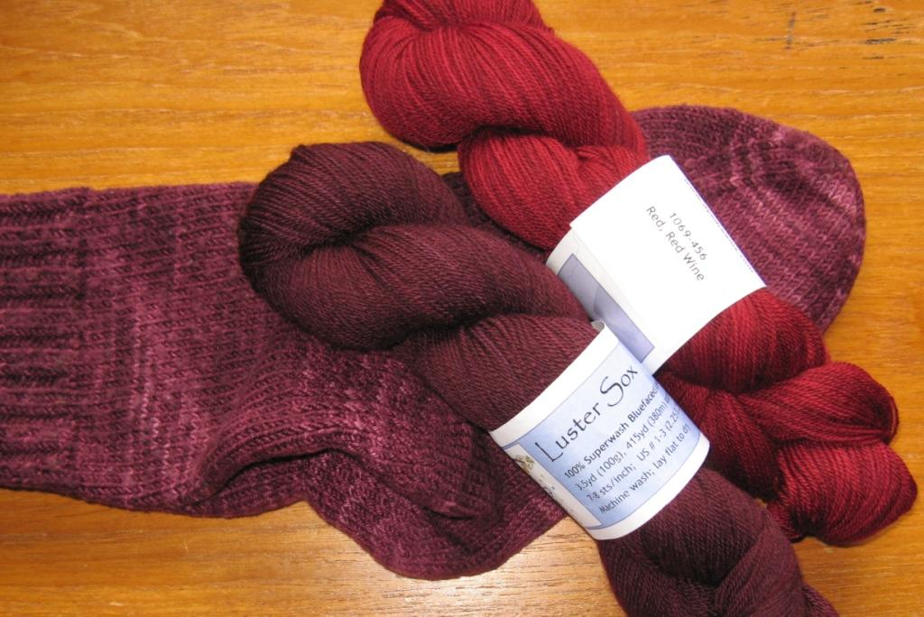 dyedreams luster sox in dark magenta and red red wine